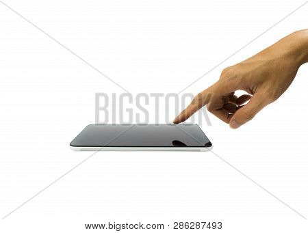 A Man Hand Touching On Horizontal Smartphone Or Tablet Screen Isolated On White Background. Cropped