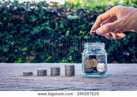 Money Savings, Investment, Making Money For Future, Financial Wealth Management Concept. Stack Coins
