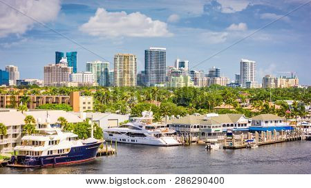 Fort Lauderdale, Florida, USA skyline on the river in the afternoon.