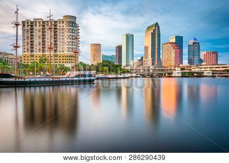 Tampa, Florida, USA downtown skyline on the bay at twilight. poster