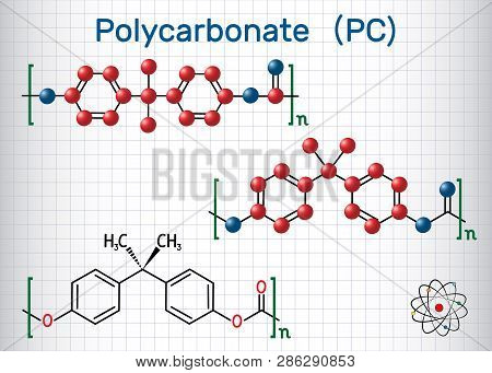 Polycarbonate (pc) Thermoplastic Polymer Molecule. Sheet Of Paper In A Cage. Structural Chemical For