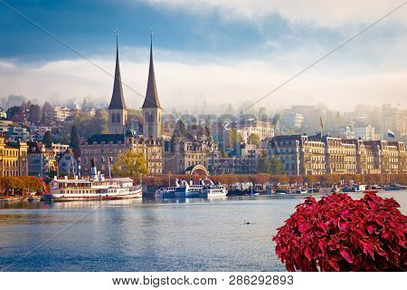 Idyllic Swiss Town And Lake Lucerne Waterfront View, Landscapes Of Switzerland