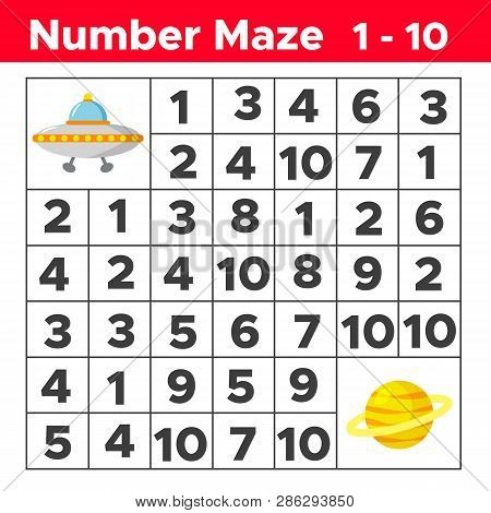 Number Maze, Math Puzzle Game For Children. Help The Ufo Find Way To The Planet Saturn. Counting Fro