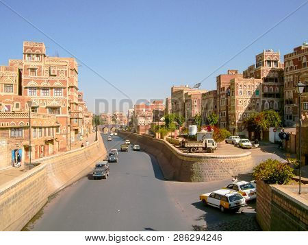 Sanaa, Yemen - May 12, 2015: City Of Sanaa, Streets And Buildings Of The City In Yemen, Sights And A