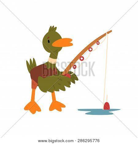 Male Mallard Duck Fishing With Fishing Rod, Cute Funny Duckling Cartoon Character Vector Illustratio