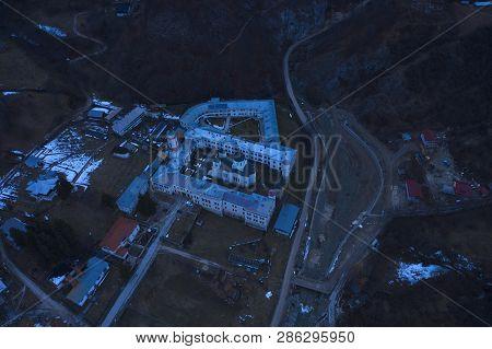 Monastery Bistrita Valcea Aerial View By Night