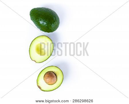 Top View Fresh Ripe Avocado Fruit Isolated On White Background With Copy Space, Healthy Food Concept