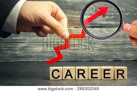 Wooden Blocks With The Words Career And The Up Arrow. Personal And Career Growth, Self-development,