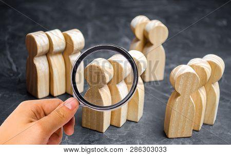 Groups Of Wooden People. The Concept Of Market Segmentation. Marketing Segmentation, Target Audience