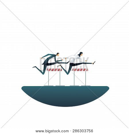 Business Competition Vector Concept With Businesswoman And Businessman Jumping Hurdles. Symbol Of Co