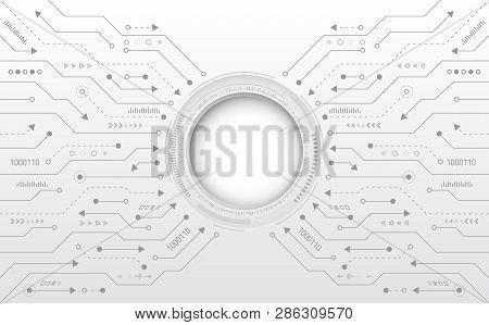 Hi-tech Digital Technology Concept. Illustration High Computer Technology On Grey Background.  Abstr