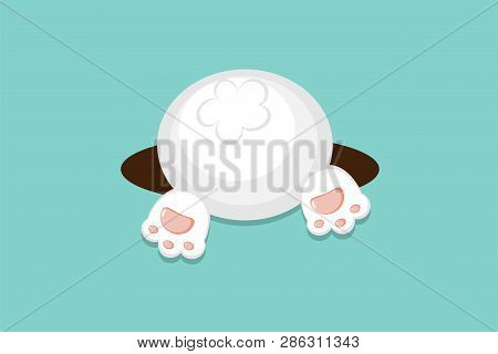 Vector Flat Style White Bunny Bottom For Spring Easter Or Autumn Harvesting Thanksgiving Day Poster,