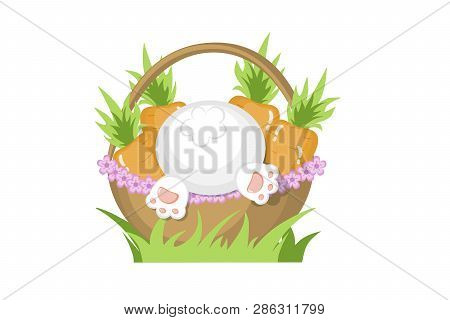 Vector Flat Style Basket With Carrots And White Bunny Bottom For Spring Easter Or Autumn Harvesting
