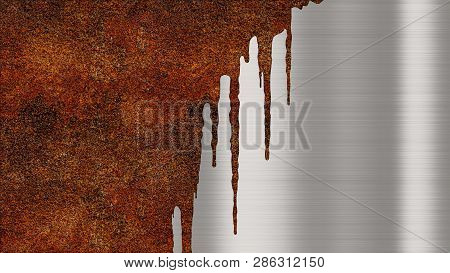 Shiny Polished Metal Background Texture With Rusty Drips Of Liquid. Brushed Metallic Steel Plate Wit