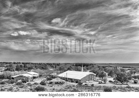 Orania, South Africa, September 1, 2018:  View Of Orania As Seen From Monument Hill. A Fete Is In Pr