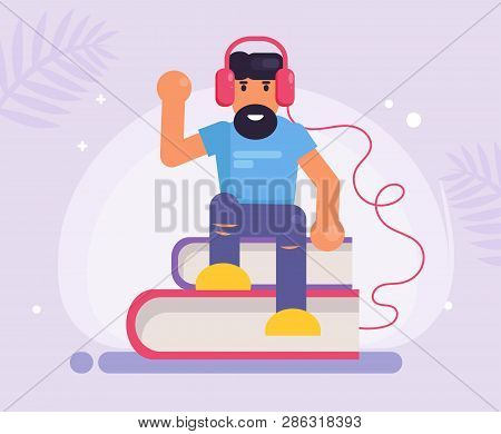 Man Listens To An Audiobook Vector. Cartoon. Isolated Art On White Background. Flat