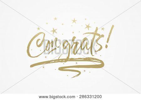 Congrats, Congratulations Card. Beautiful Greeting Poster, Calligraphy Gold Text Word Ribbon Star. H