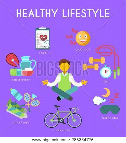 Healthy Lifestyle Concept Vector Illustration. Happy Man Meditating In Yoga Position Banner. Good Mo
