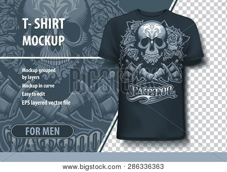 Skull Roses And Tattoo Machines. Fully Editable T-shirt Template.
