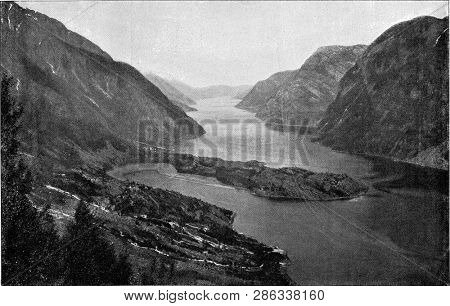 The Sorfjord, part of Hardangerfjord in Norway, vintage photo. From the Universe and Humanity, 1910.