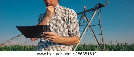 Serious Concerned Farmer Using Tablet Computer In Cornfield With Irrigation System Out Of Operation