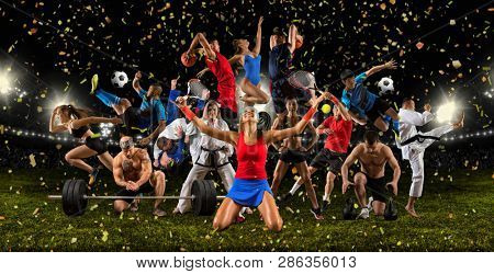 Huge multi sports collage taekwondo, tennis, soccer, basketball, football, bodybuilding, etc