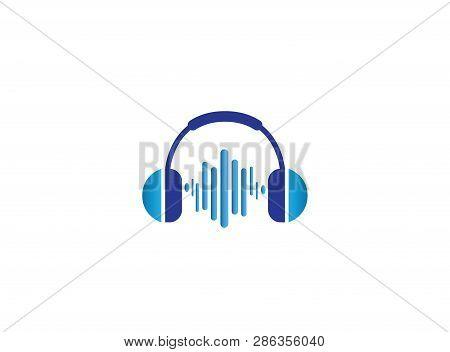Headphones With Music Beats, Headset Logo Design