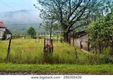 Old Abandoned And Rickety Fence. For Rural And Regional Themes