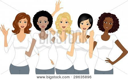 Illustration of Girls Celebrating International Women's Day