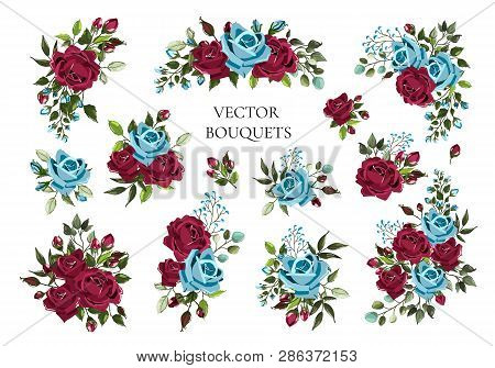 Set Of Bouquets Bordo And Navy Blue Flower Roses With Green Leaves. Floral Maroon Branch Flowers Arr