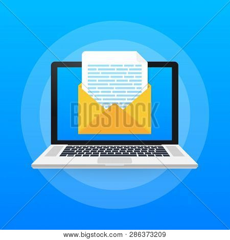 Laptop With Envelope And Document On Screen. Email Marketing, Internet Advertising. Vector Stock Ill