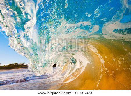 Breaking Ocean Wave Crashing over Camera