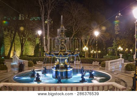 Baku, Azerbaijan - 19.01.2018: Night Philharmonic Fountain Park. Azerbaijan State Philharmonic Hall