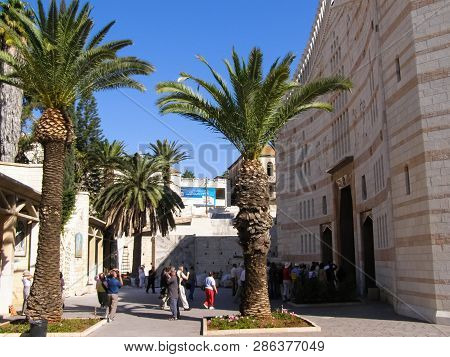 Nazareth, Israel - May 23, 2013: Landmarks Of Nazareth, Overview Of Buildings And Sights Of Nazareth