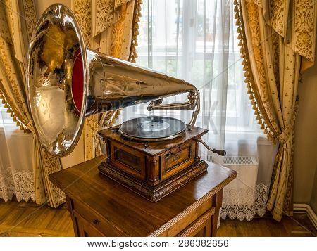 Irkutsk, Russia - August 24, 2016: Old Gramophone From The Times Of Tsarist Russia. Museum Exhibit I