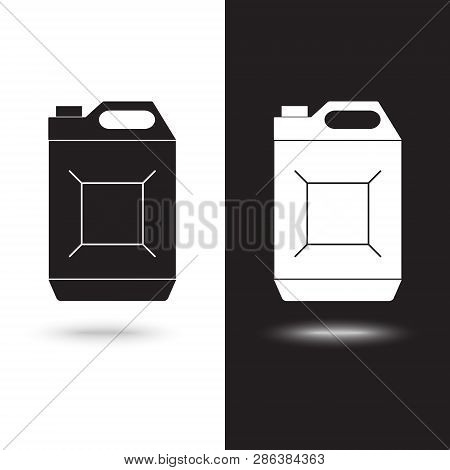 Vector Icon Jerrycan Oil On Black And White Background
