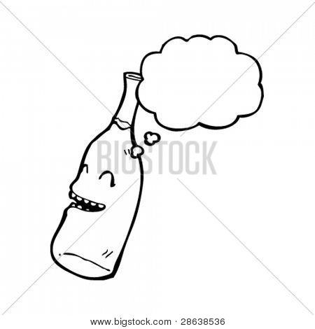 laughing wine bottle cartoon character with thought bubble