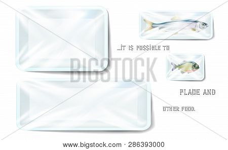 White Plastic Food Container Wrapped By Polyethylene. Vector Rectangle Blank Styrofoam Tray Mock Up,