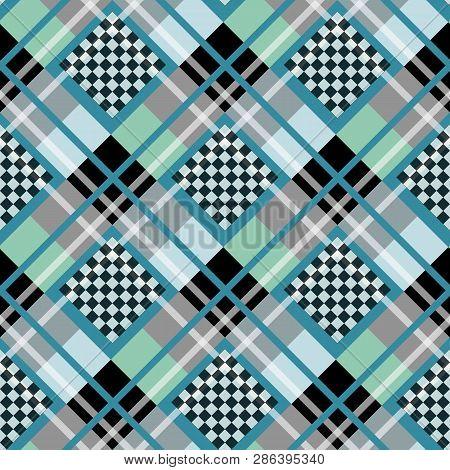 Blue Serenity White Diamond Tartan With Chessboard Background Vector Illustration