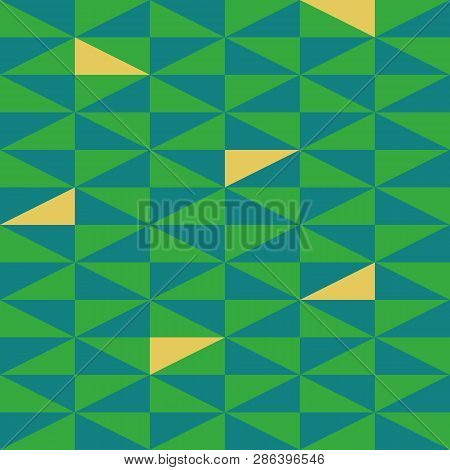 Green And Yellow Triangles As Vibrant Geometric Design. Seamless Vector Pattern With Bright Modern V