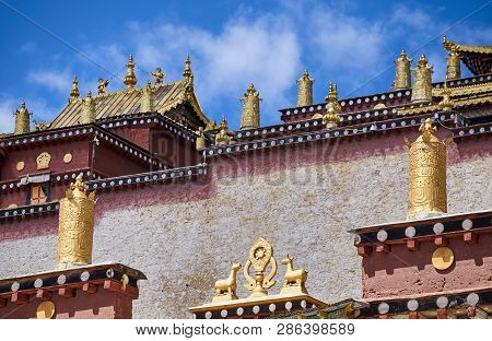 Architecture Details Of The Songzanlin Monastery, China.