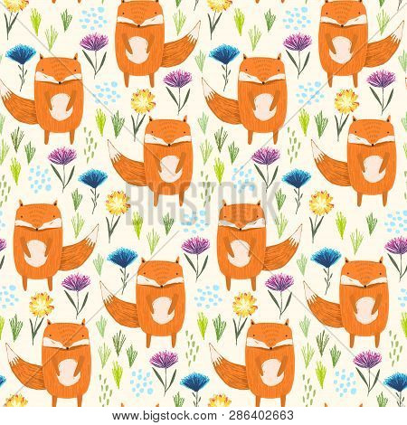 Childish Seamless Pattern With Cute Sketchy Orange Foxes, Colorful Flowers And Grass. Childish Summe