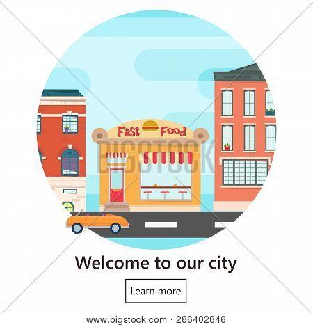 Web Banner With City Landscape. City Landscape. Urban Landscape In Flat Style. Welcome Banner.vector
