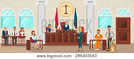 Vector Flat Lawyer Woman in Blue Dress Protects Accused is Interrogated Witness. City Court Guard with Dog Guards Prisoner. Convict Accused Prosecutor Folder with Evidence Prove Guilt Attack. poster