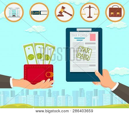 Vector Flat Law Company Maintains Documents Tax Form. Paid Hand with Red Purse Dollar. Court Building Book Constitution Gavel Makes Decision in Favor Accused Scales Portfolio Brown. Help Customers. poster