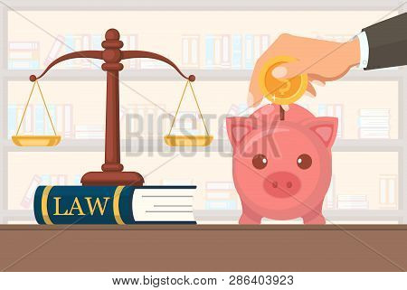 Flat Vector Illustration Payment Legal Services. On Judge Together Equal Scales Stand On Book With I