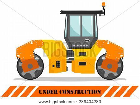 Detailed Illustration Of Compactor. Heavy Construction Equipment And Machinery. Vector Illustration.
