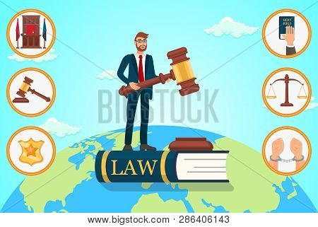 Vector Flat Illustration Lawyer Relies On Law. Man In Business Suit Is Standing On Book With An Insc