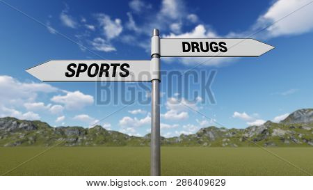 Way Choice Showing Strategy, Sports Drugs, 3d Rendering
