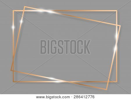Gold Shiny Glowing Vintage Frame With Shadows Isolated On Grey Background. Golden Luxury Realistic D
